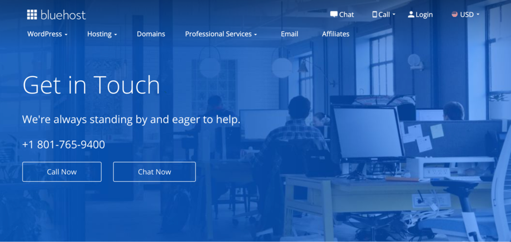 """Bluehost contact us page """""""