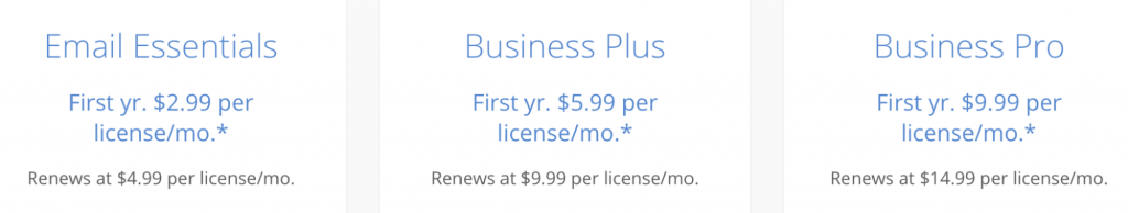 Email services plans at Bluehost