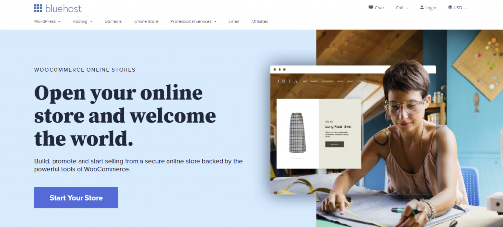 """Bluehost WooCommerce hosting landing page """"Open your online store and welcome the world"""""""
