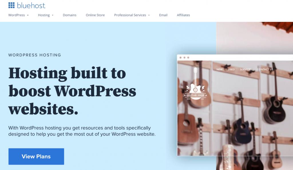 "WordPress hosting at Bluehost ""Hosting built to boost WordPress websites"""