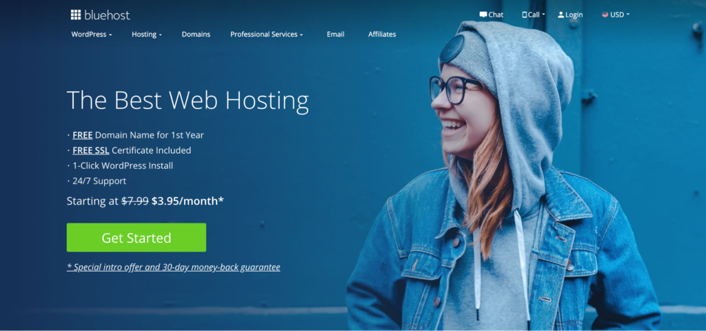 Bluehost web hosting landing page