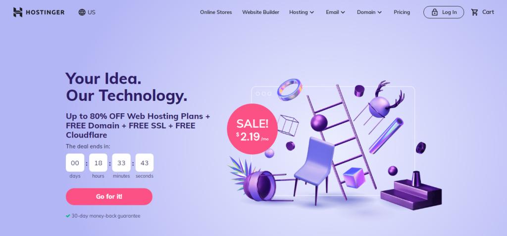 Hostinger's web hosting page