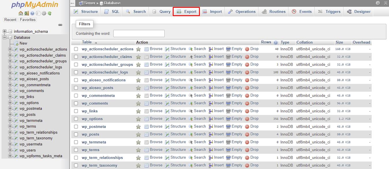 Exporting on PHPMyAdmin