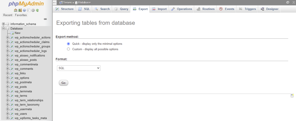 Exporting tables on phpMyAdmin
