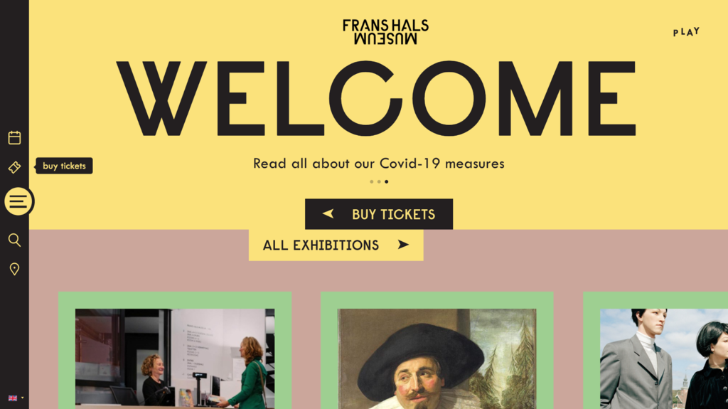 Frans Hals Museum landing page, an ecommerce website exmaples