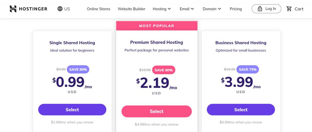 Hostinger's most popular shared hosting plan