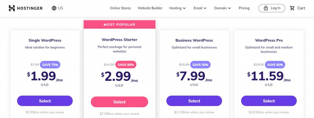 Hostinger's WordPress hosting plan prices