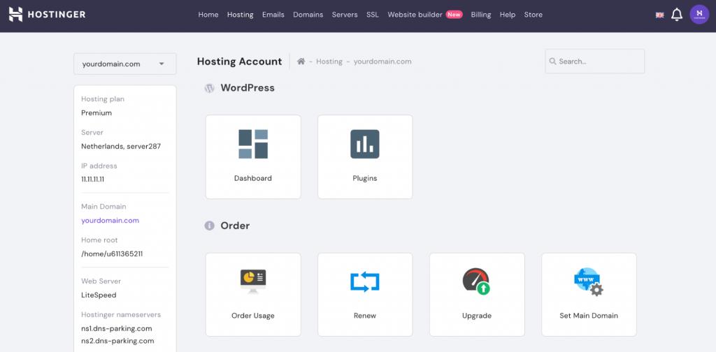 Hostinger's hpanel interface