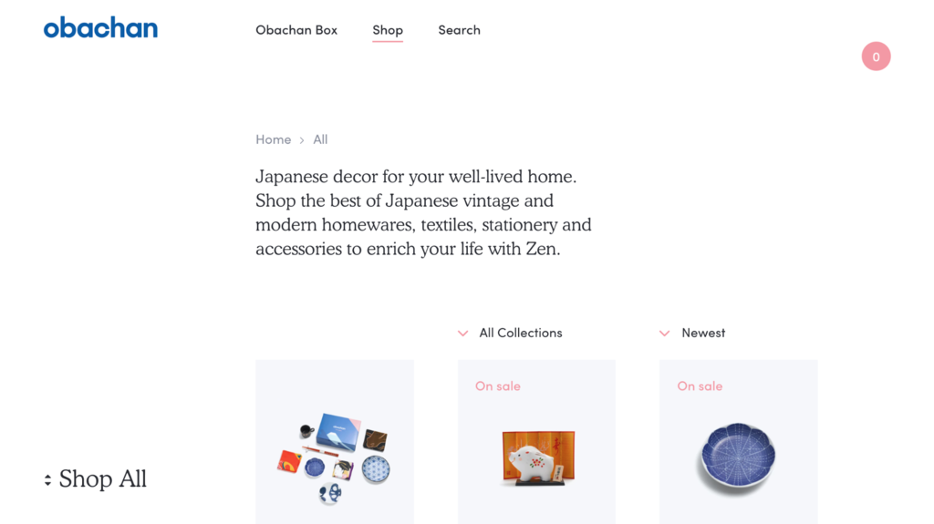 Obachan ecommerce website examples