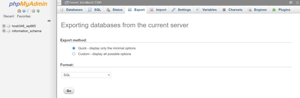 PhpMyAdmin exporting database
