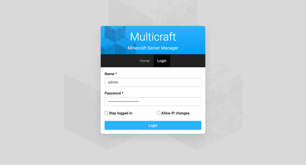 Multicraft login screen.