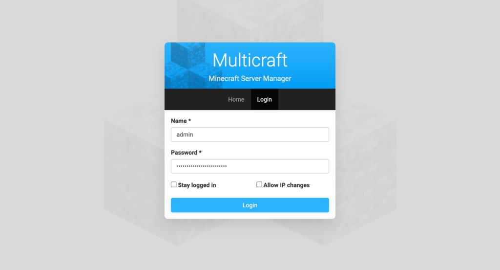 trang đăng nhập Multicraft