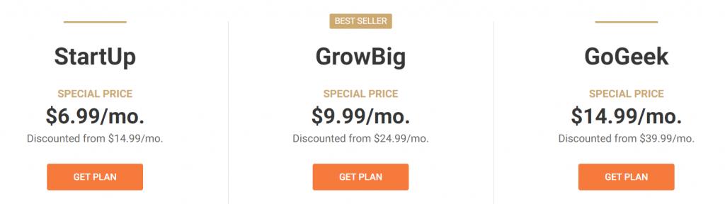 Siteground's best seller hosting prices