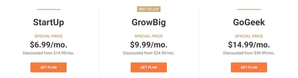 Siteground's wordpress hosting plan prices