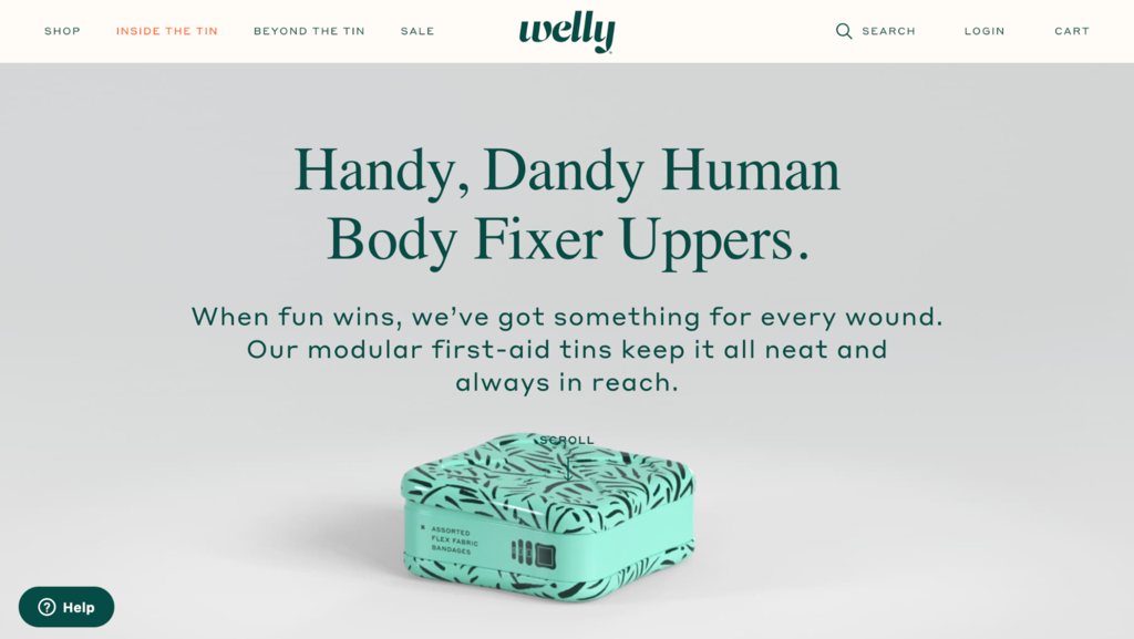 Welly minimal ecommerce website examples
