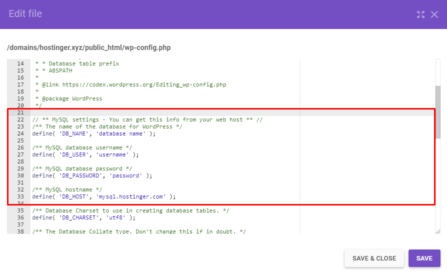Editing wp-config.php file code