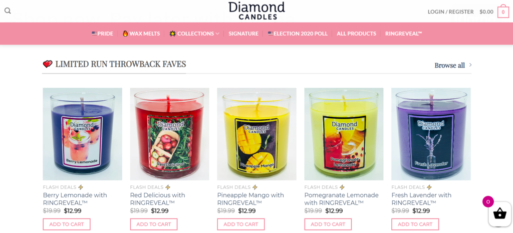 Diamond Candles B2C ecommerce case study email marketing
