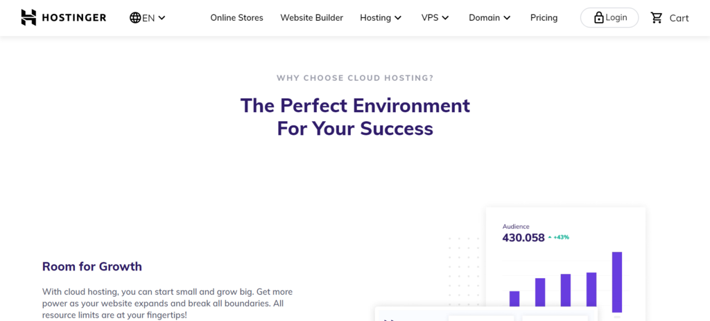 Hostinger cloud hosting service for growth and scalability