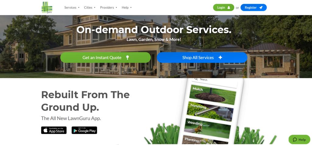 dịch vụ Lawn Guru nền B2C eCommerce business