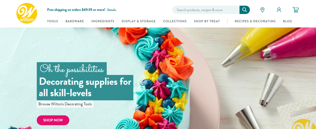 Wilton B2C ecommerce selling baking hobby products