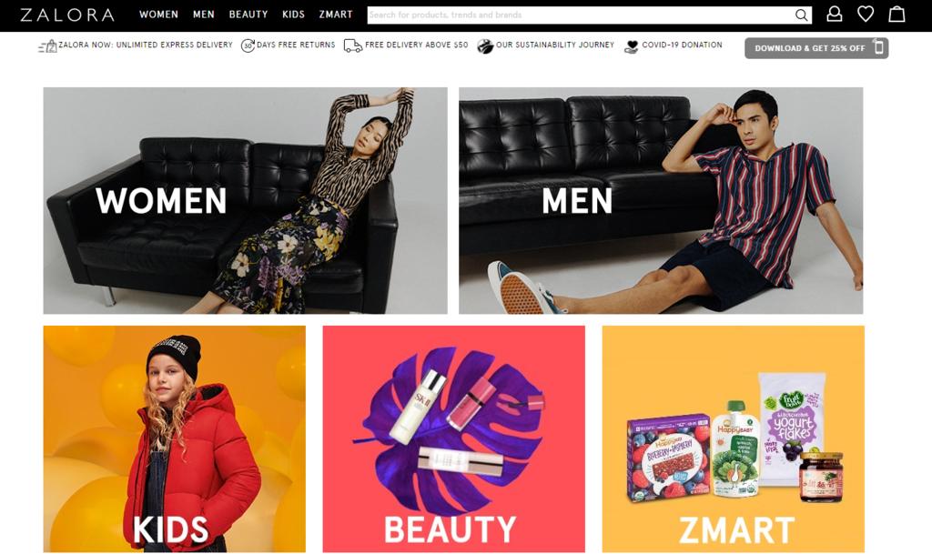 website thương mại điện tử Zalora kinh doanh theo mô hình B2C eCommerce