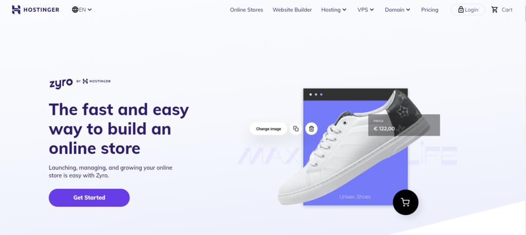 cửa hàng online Zyro tạo bởi Hostinger eCommerce