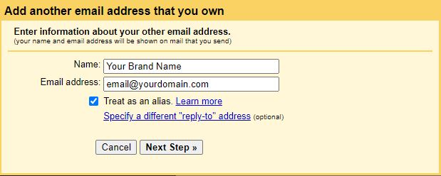 Fill in the form to add your email to Gmail.
