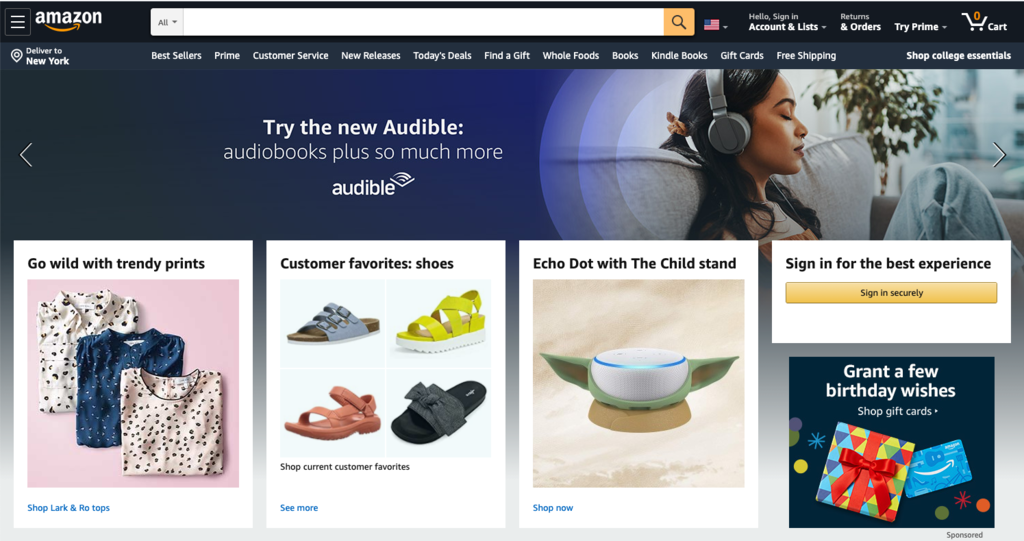 Amazon B2B B2C eCommerce homepage