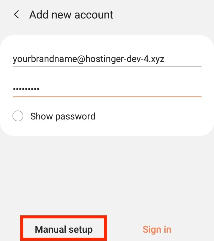 "Selecting the ""Manual setup"" option when setting up a new email account on Android."