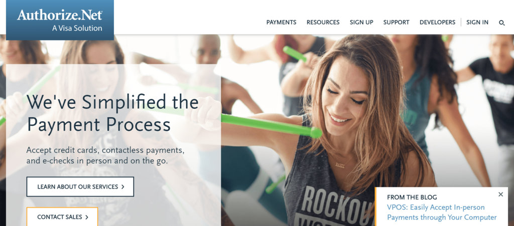 Website of Authorize.net Payment Gateway