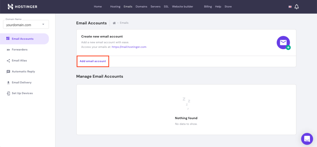 Creating an email account on the hPanel