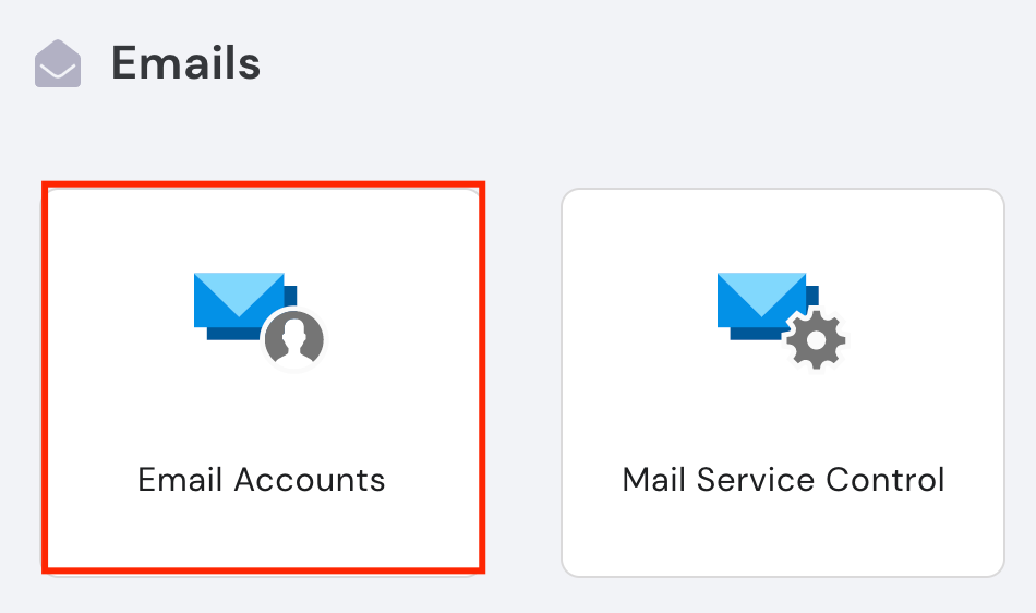Hostinger's email section, highlighting Email Accounts.