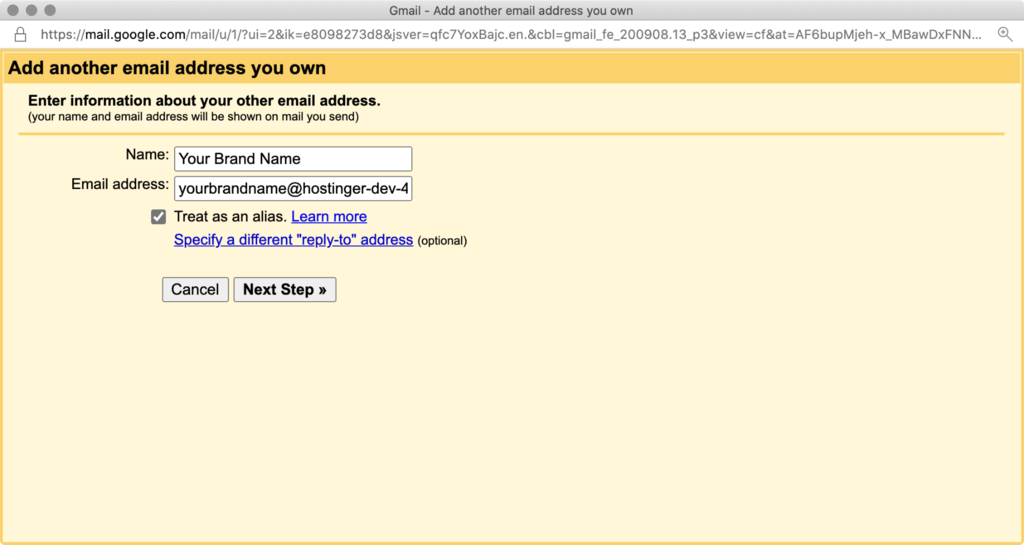 Filling in new email address information in Gmail.