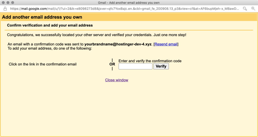 Verifying the newly added email address in Gmail.