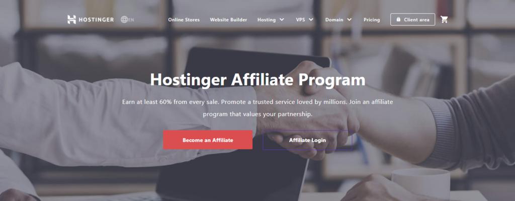 Hostinger affiliate marketing home page