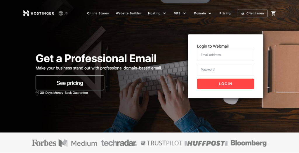 Hostinger Webmail home page.