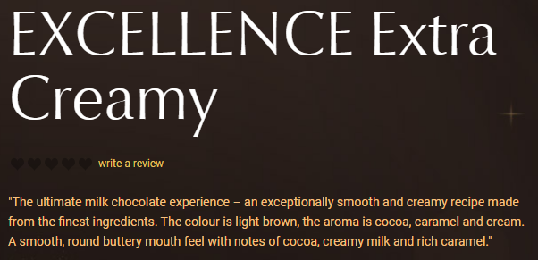 Example of the use of sensory word on Lindt's product description
