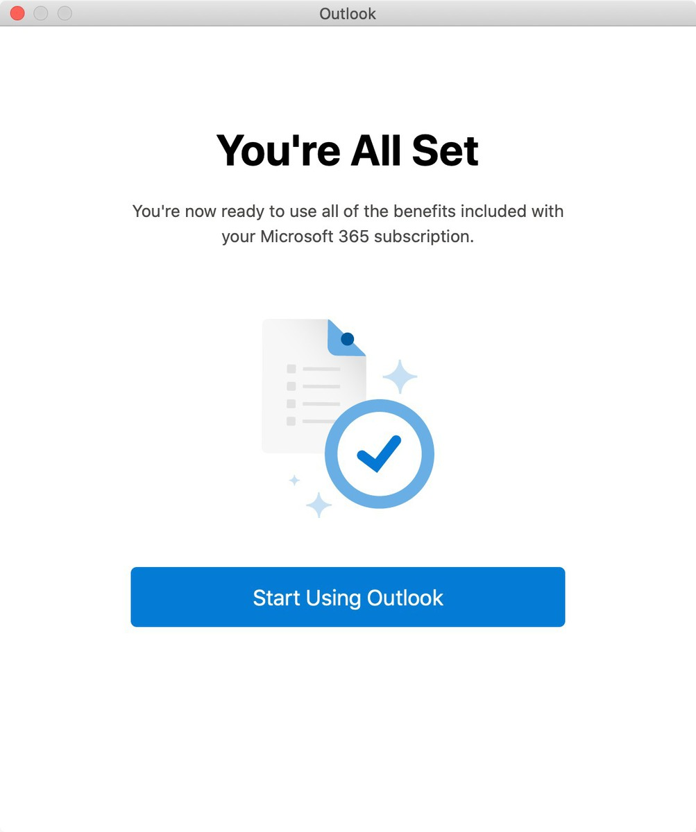 """You're All Set"" message in Outlook on macOS."