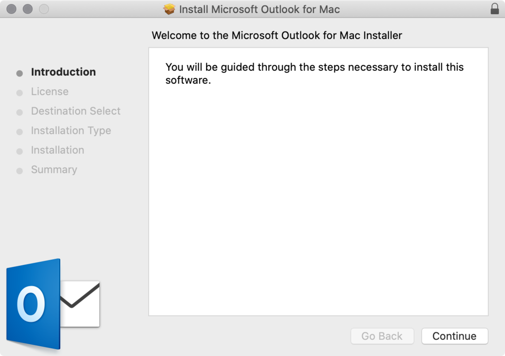 Outlook installation wizard on macOS.