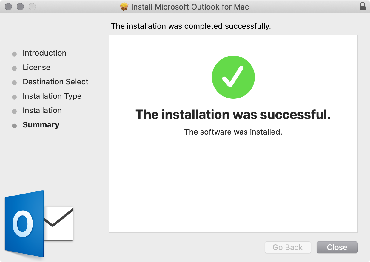 Outlook installation completed on macOS.