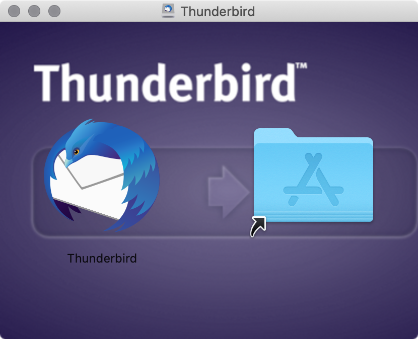Moving the Thunderbird app to the Applications folder on macOS.