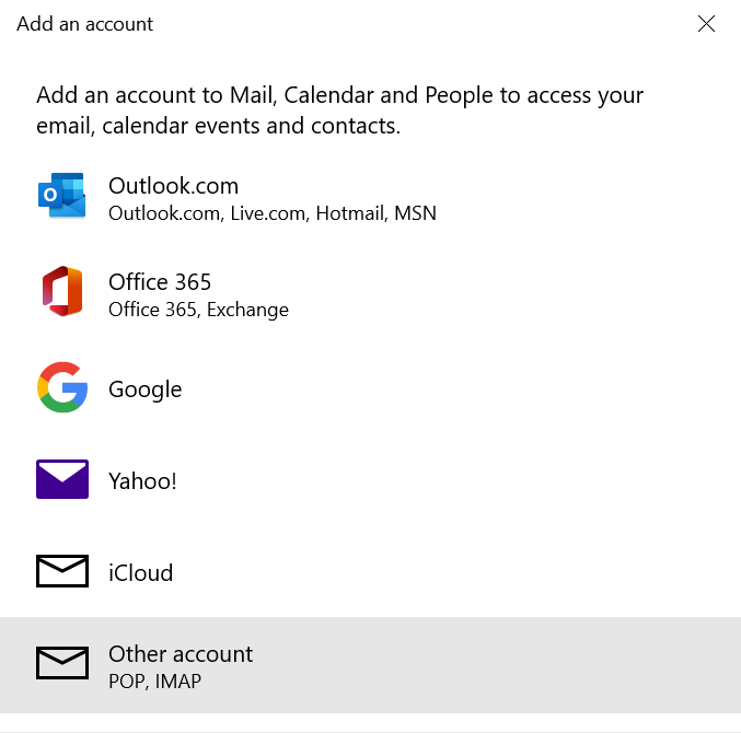 Adding a new email account to Mail on Windows.