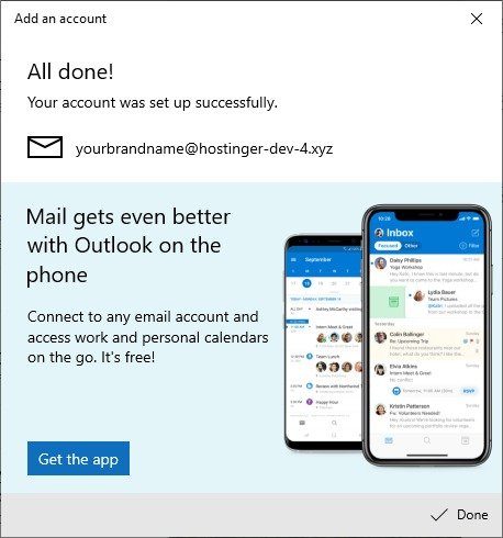 """Your account was set up successfully"" in Mail on Windows."
