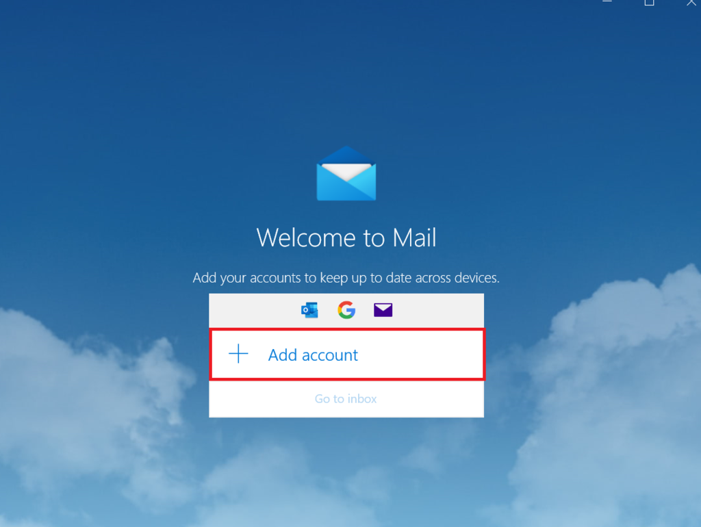 """Welcome to Mail"" window in Mail on Windows."