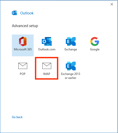Choosing the IMAP mail protocol in Outlook on Windows.