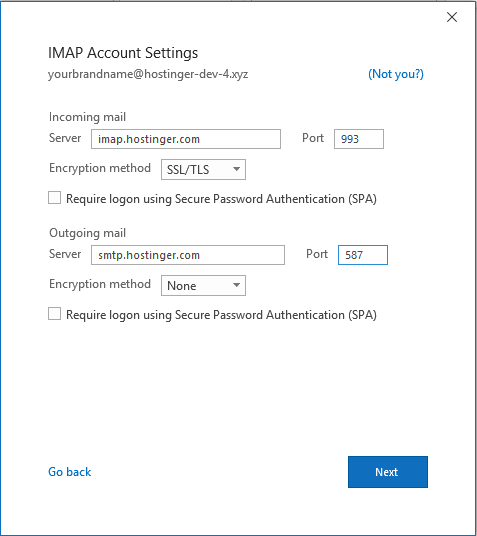 Setting up IMAP account settings in Outlook on Windows.