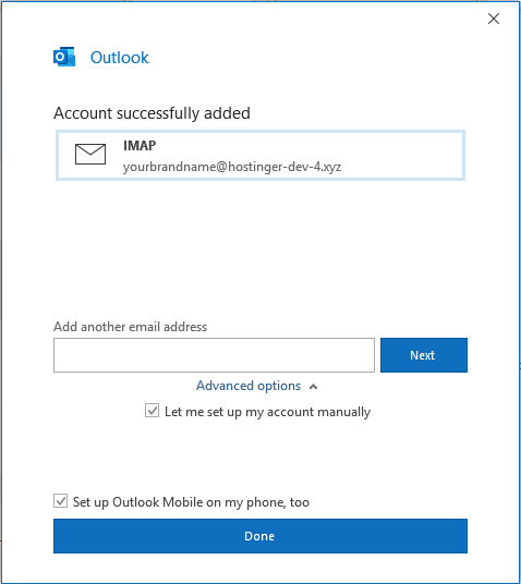 """Account successfully added"" message in Outlook on Windows."