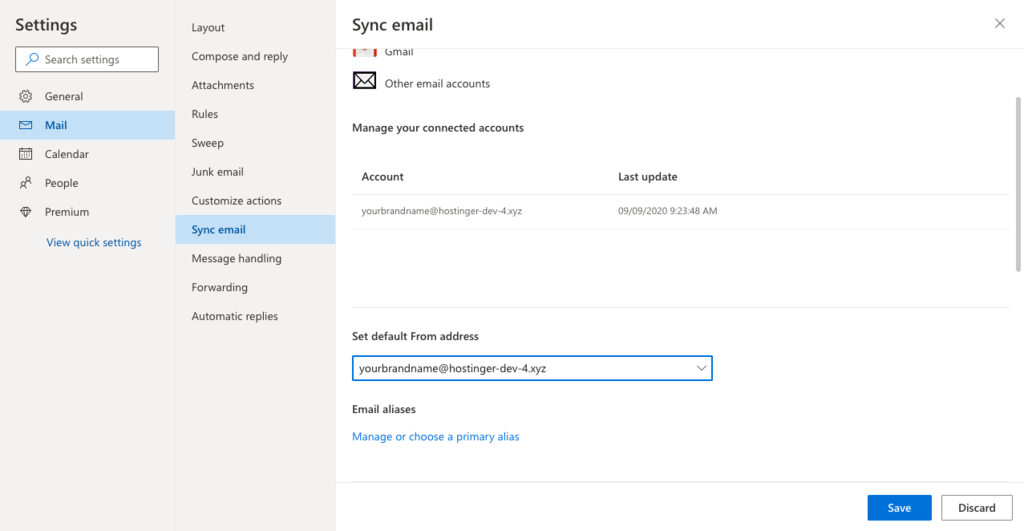 Setting a newly added email address as default in Outlook.com.
