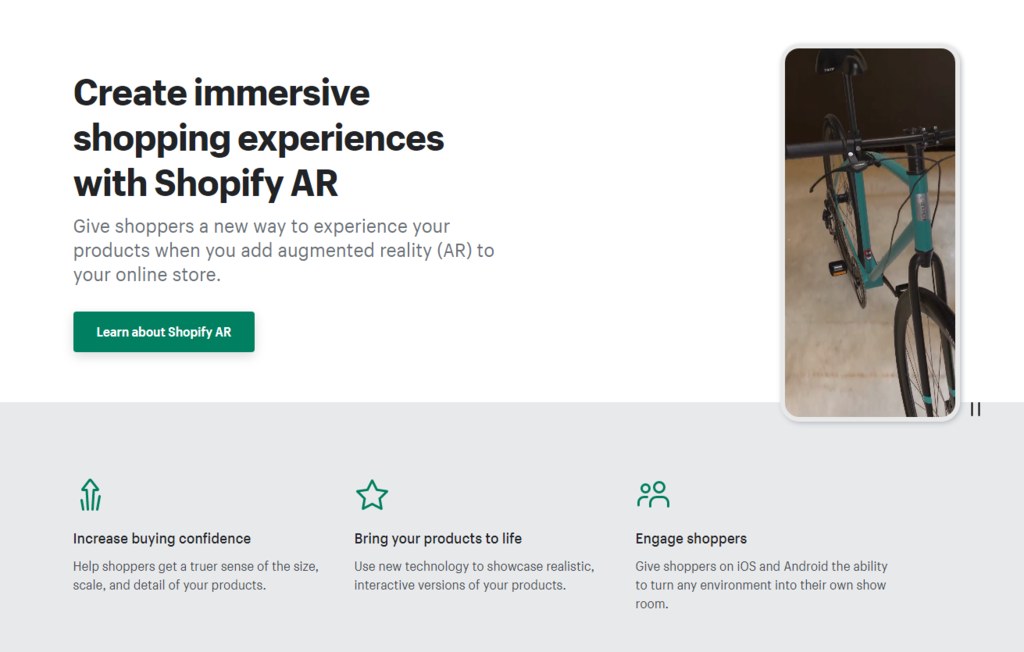 Augmented reality feature on Shopify eCommerce