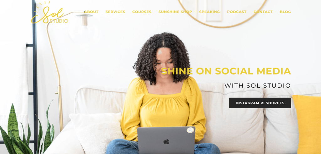 Homepage of Sol Studio, a Small Business in Social Media Management